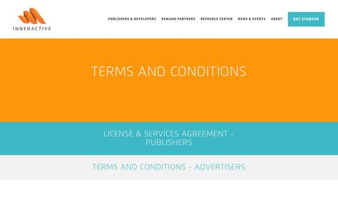 Screenshot of Terms Page inner-active.com - Terms and conditions - Inneractive: The Mobile Ad Exchange - captured Dec. 4, 2015