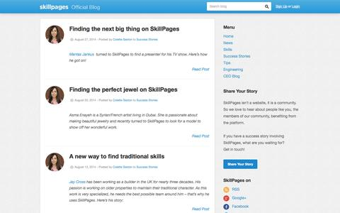 Screenshot of Blog skillpages.com - SkillPages Blog | Features and Stories of SkillPages Life - captured Sept. 17, 2014