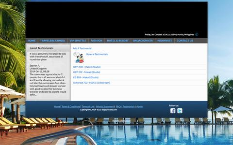 Screenshot of Testimonials Page baqacionista.com - Baqacionista - Testimonials - captured Oct. 3, 2014