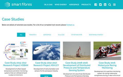 Screenshot of Case Studies Page smartfibres.com - Case Studies - Smart Fibres - captured Nov. 2, 2017