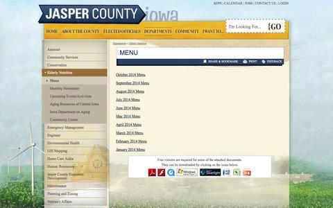 Screenshot of Menu Page jasper.ia.us - Jasper County, Iowa : Menu - captured Oct. 6, 2014