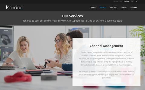 Screenshot of Services Page kondor.co.uk - Kondor Services, Brand and Channel Partnering - captured Oct. 16, 2018
