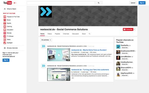 Screenshot of YouTube Page youtube.com - nextsocial.de - Social Commerce Solutions  - YouTube - captured Nov. 2, 2014
