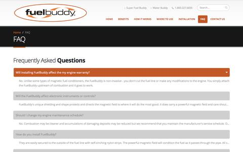 Screenshot of FAQ Page fuel-buddy.com - Fuel Buddy - Frequently Asked Questions - captured Feb. 22, 2018