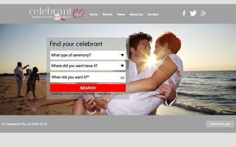 Screenshot of Home Page celebrante.com.au - Celebrante - Australia's premier celebrant directory - captured July 11, 2016