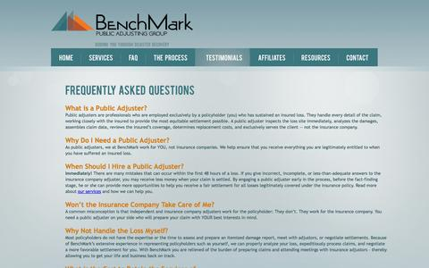 Screenshot of FAQ Page benchmarkpa.com - Frequently Asked Questions - BenchMark Public Insurance Adjusters, Atlanta, GA - captured Oct. 5, 2014