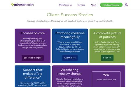 Screenshot of Case Studies Page Testimonials Page athenahealth.com - Case Study Hub Landing Page | athenahealth - captured March 27, 2019