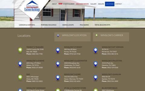 Screenshot of Locations Page winslowsinc.com - Locations | Texas | Oklahoma | Louisiana | Winslows Inc. - captured Oct. 26, 2014