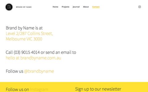 Screenshot of Contact Page brandbyname.com.au - Contact Brand by Name | Graphic Design Studio | Richmond, Melbourne - captured Aug. 3, 2018