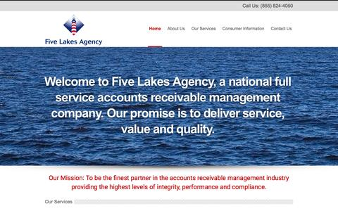 Screenshot of Home Page fivelakesagency.com - Five Lakes Agency - Bankruptcy Services & Collection Agency - captured Feb. 10, 2016