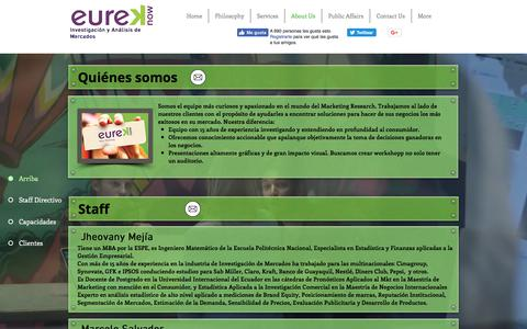 Screenshot of About Page eureknow.com - About Us. El equipo más curioso en el Marketing Research. - captured July 13, 2018