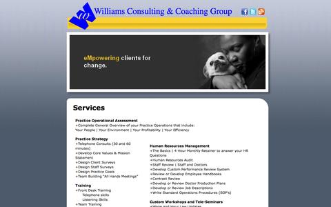 Screenshot of Services Page frankiewilliams.com - Williams Consulting and Coaching Group - Services - captured Feb. 23, 2016