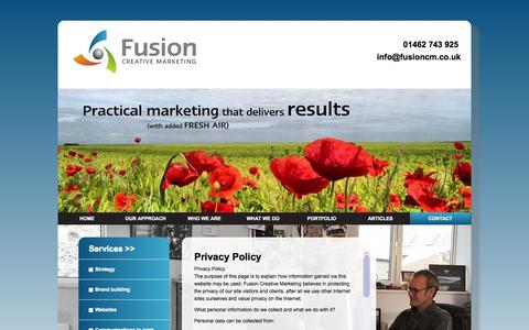 Screenshot of Privacy Page fusioncm.co.uk - Fusion Creative Marketing |   Privacy - captured Oct. 6, 2014