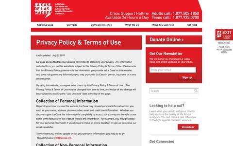 Screenshot of Privacy Page lacasa.org - Privacy Policy & Terms of Use   | La Casa de las Madres - captured Oct. 1, 2014