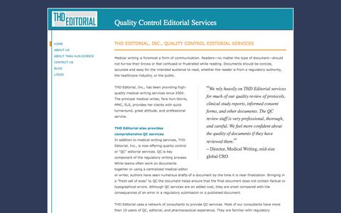 Screenshot of Home Page thdqc.com - THD Editorial, Inc., Quality Control Editorial Services - captured Oct. 6, 2014