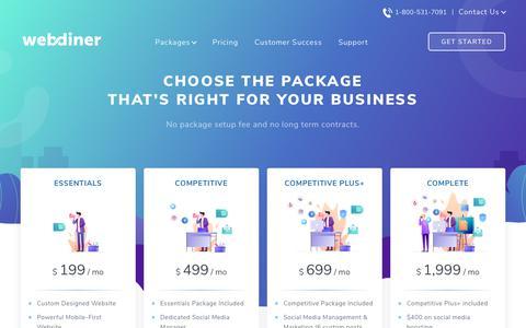 Screenshot of Pricing Page webdiner.com - Restaurant Marketing Pricing for Packages— Webdiner - captured Jan. 12, 2019