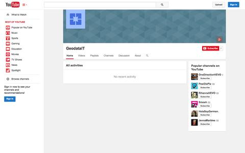 Screenshot of YouTube Page youtube.com - GeodataIT  - YouTube - captured Oct. 22, 2014