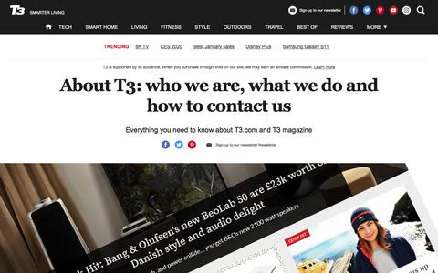 Screenshot of About Page t3.com - About T3: who we are, what we do and how to contact us | T3 - captured Jan. 9, 2020