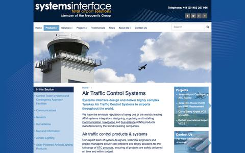 Screenshot of Products Page systemsinterface.com - Products | Air Traffic Control Systems | Systems Interface - captured Oct. 18, 2018