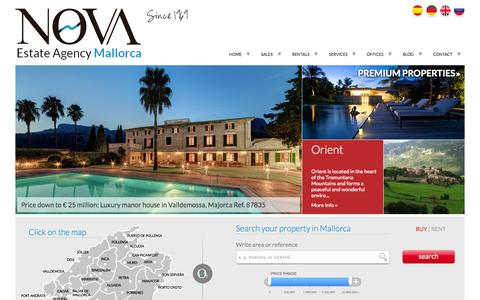 Screenshot of Home Page inmonova.com - Property for sale and rent in Mallorca - Luxury Real Estate Nova - captured Sept. 25, 2014