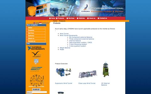 Screenshot of Products Page chromaintegrated.com - Engineering Product & Services - captured Oct. 2, 2014