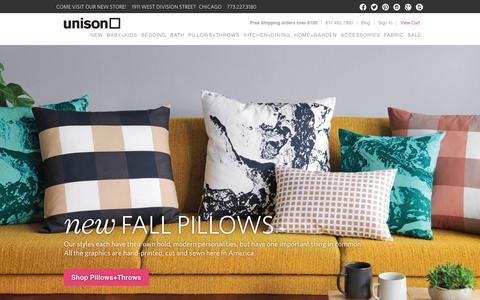 Screenshot of Home Page unisonhome.com - Modern Bedding, Table Linens + Unique Home Decor   Unison - captured Oct. 7, 2014