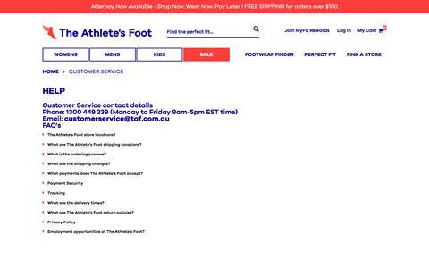 Screenshot of Support Page theathletesfoot.com.au - Customer Service - captured Oct. 28, 2017