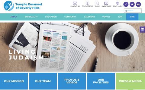 Screenshot of Press Page tebh.org - Press & Media - Temple Emanuel Beverly Hills - captured Oct. 18, 2018