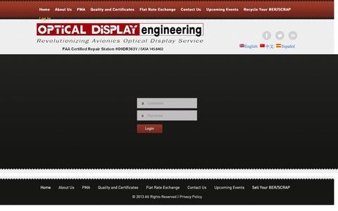 Screenshot of Login Page odelcd.com - Customer Log In | Optical Display Engineering - captured Feb. 14, 2016
