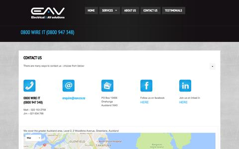 Screenshot of Contact Page eav.co.nz - Contact us | Electrical & AV solutions - captured Oct. 4, 2016
