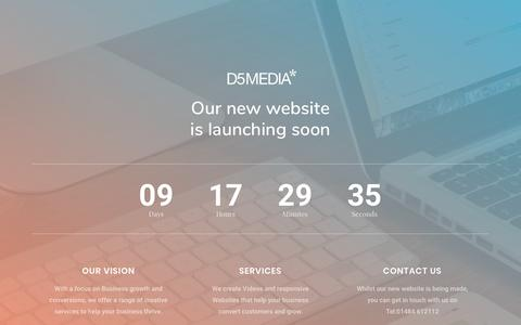 Screenshot of Home Page d5media.co.uk - Video Production & Web Design Huddersfield | D5* Media - captured Nov. 6, 2018