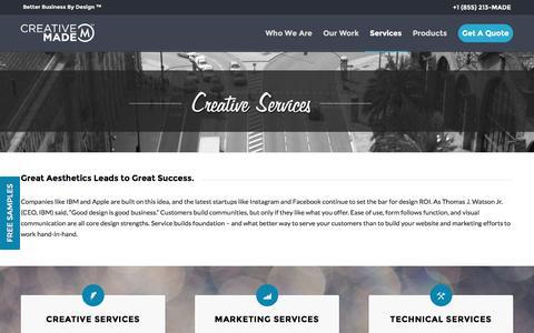 Screenshot of Services Page creativemade.com - Creative Made Creative Services in Denver - captured Nov. 13, 2016