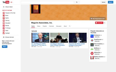 Screenshot of YouTube Page youtube.com - Maguire Associates, Inc.  - YouTube - captured Oct. 23, 2014