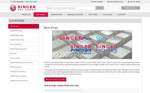 Screenshot of Locations Page singersl.com - Retail Shops | SINGER - Online Shopping Sri Lanka - captured Oct. 22, 2018
