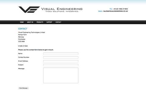 Screenshot of Contact Page visualengineering.co.uk - Contact   Visual Engineering - captured Oct. 9, 2014