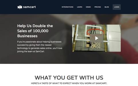 Screenshot of Jobs Page samcart.com - Careers - captured Jan. 13, 2016