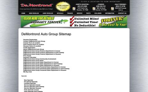 Screenshot of Site Map Page demontrond.com - Texas City Sitemap - Houston Directory - Conroe Sitemap - Texas Directory - DeMontrond Auto Group - captured Oct. 8, 2018