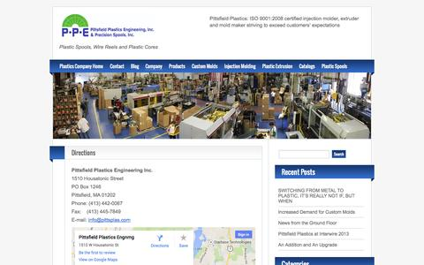 Screenshot of Maps & Directions Page pittsplas.com - Directions | Plastics Injection Molding Company - captured Oct. 2, 2014