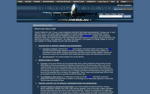 Screenshot of Terms Page airliners.net - Airliners.net Terms of Use - captured Sept. 18, 2014