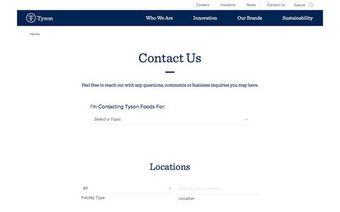 Screenshot of Contact Page tysonfoods.com - Contact Us | Tyson Foods, Inc. - captured Dec. 25, 2017