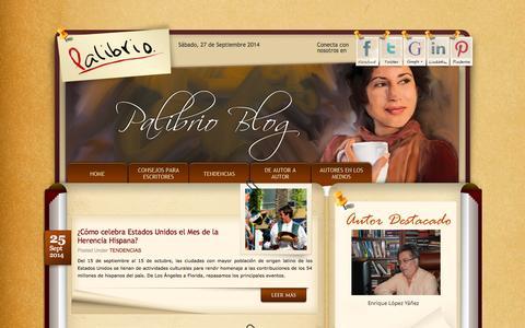 Screenshot of Blog palibrio.com - Palibrio Blog | Comunidad en línea de escritores autoeditados | - captured Sept. 27, 2014