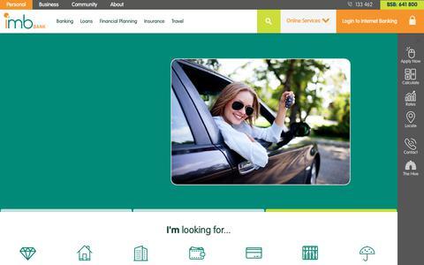 Screenshot of Home Page imb.com.au - IMB - IMB Bank - captured Oct. 1, 2018