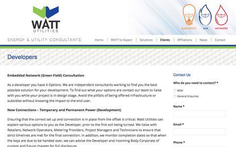 Screenshot of Developers Page wattutilities.com.au - Developers - Watt Utilities - captured June 19, 2017