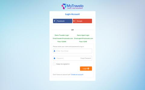 Screenshot of Login Page mytravelo.com - Login - Top Tour Packages | Vacation Trip Deals | Holiday Travel Packages - captured Sept. 24, 2018