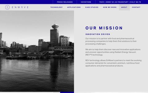 Screenshot of About Page enwave.net - Our Mission - EnWave Corporation - captured Sept. 28, 2018