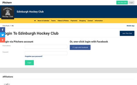 Screenshot of Login Page pitchero.com - Edinburgh Hockey Club - captured Oct. 22, 2018