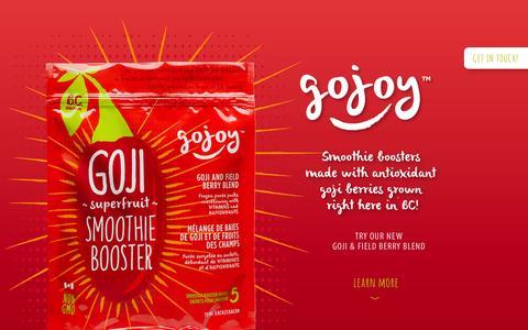Screenshot of Home Page gojoy.ca - Goji Berry Superfood Smoothie   Gojoy Drink - captured Oct. 2, 2014