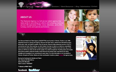 Screenshot of About Page thediamondagency.com - Orlando Talent Agents | Orlando Models & Talent | Top Talent Agenices | Atlanta Top Talent | Atlanta Talent Agencies | Models In Orlando - captured Sept. 30, 2014