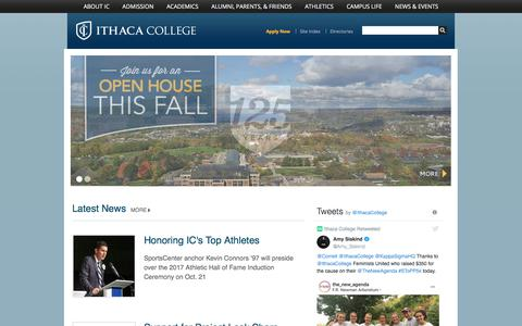 Screenshot of Home Page ithaca.edu - Ithaca College, Ithaca, NY - captured Oct. 15, 2017