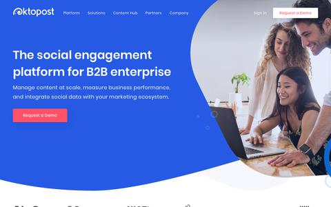 Screenshot of Home Page oktopost.com - Oktopost: The Social Engagement Platform for B2B Enterprise - captured June 15, 2018
